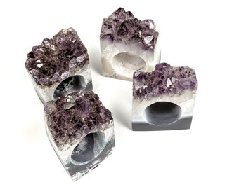 Set of 4 Amethyst Geode Napkin Rings | Set #1