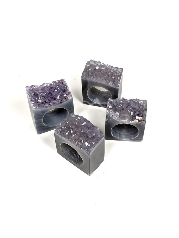 Set of 4 Amethyst Geode Napkin Rings | Set #2