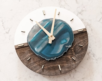 """Mini/Cutie 8"""" Agate COLOR BLOCK WALL Clock,Wood Clock,Boho Decor,Boho Wall Decor,Boho Wall Hanging,Indie Office Decor,Rock Collector Gift"""
