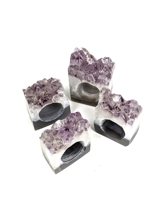 Set of 4 Amethyst Geode Napkin Rings | Set #6