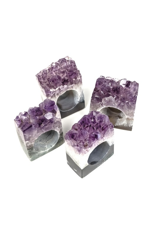 Set of 4 Amethyst Geode Napkin Rings | Set #9