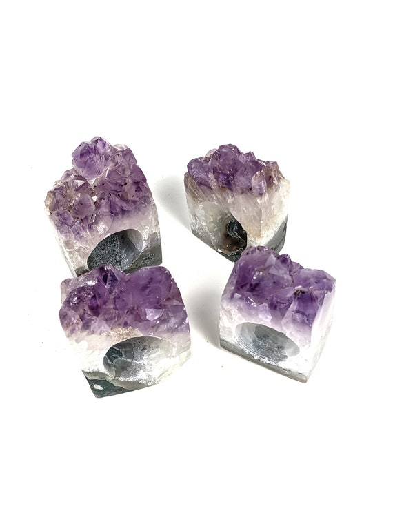 Set of 4 Amethyst Geode Napkin Rings | Set #7