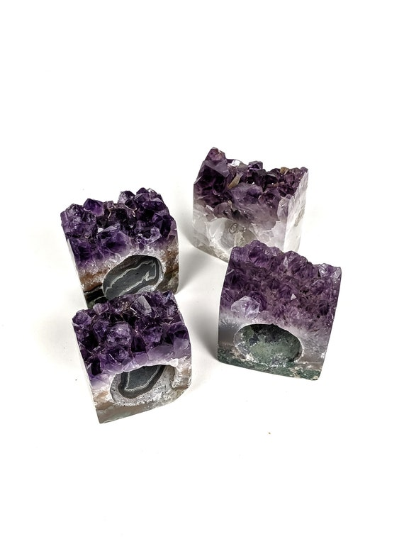 Set of 4 Amethyst Geode Napkin Rings | Set #5