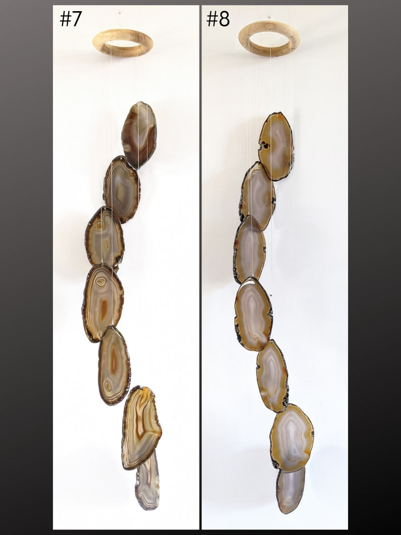 Choose Your GrayBlack LARGE Agate Chime,7-Piece Earthtone Agate Chime,Boho Decor,Boho Wall Decor,Agate Wall Hanging,Ready to Ship