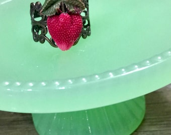 Vintage Celluloid Strawberry Accent Ring Adjustable and Nickel Free