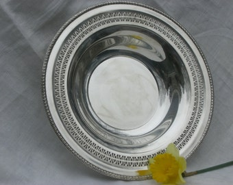 Bowl - Silver Plate - Reticulated Edge - Vintage