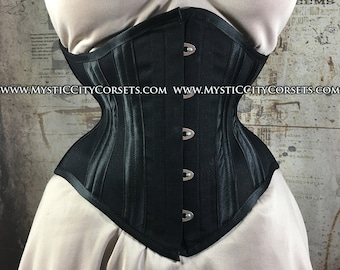 231c72a22a2 New MCC72 Black cotton underbust waist training tightlacing steel boned corset  MystiC City Corsets