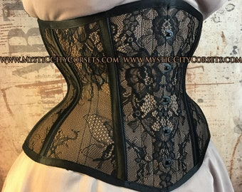 NEW MCC-5 Tan Cotton Black Lace Satin Corset Underbust Waisttraining  Tightlacing steel boned corset MystiC City Corsets 539d25ae8