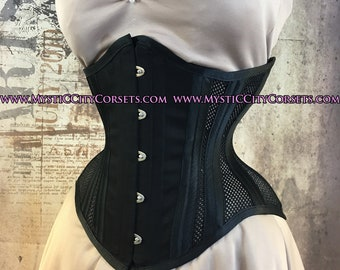 e8e2ee475ac Black Satin Cotton Sport mesh underbust waist training tightlacing steel  boned corset MCC-19 MystiC City Corsets