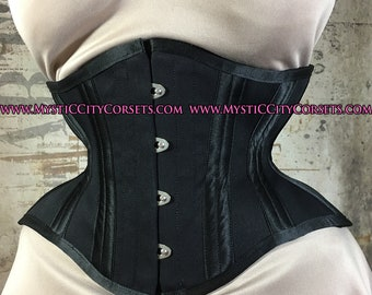 d1a8d85027 MCC-20 Black cotton corset underbust waist training tightlacing steel boned  corset MystiC City Corsets