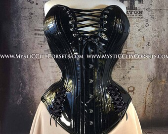fd1468dbac New MCC-30 Black Metallic PVC overbust tightlacing waisttraining corset  MystiC City Corsets