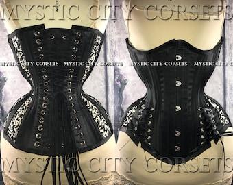 Black satin mesh hip ties underbust waist training tightlacing steel boned corset MCC-68 MystiC City Corsets