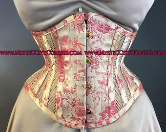 MCC-6 Brocade/Sport Mesh waspie corset underbust waist training tightlacing steel boned corset  MystiC City Corsets
