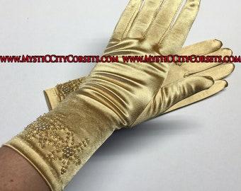 """Gold Satin Gloves 11"""""""