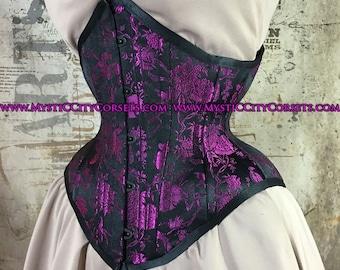 MCC-33 Black purple Bird Brocade underbust waist training tightlacing steel boned corset  MystiC City Corsets