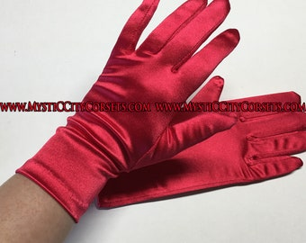 "Red Satin Gloves 9"""