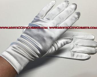 """White Satin Gloves 9"""""""