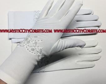 """White, Ivory Satin Gloves 11"""""""