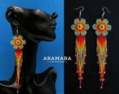 Flower Earrings, Mexican Jewelry, Mexican earrings, Mexican folk art, Beaded Flower, Native american earrings, Huichol Earrings, AF-0899
