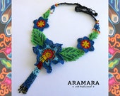 Flower necklace, Huichol jewelry, Mexican Jewelry, Mexican Necklace, Huichol necklace, Beaded Flower, Native american necklace, CFG-0005