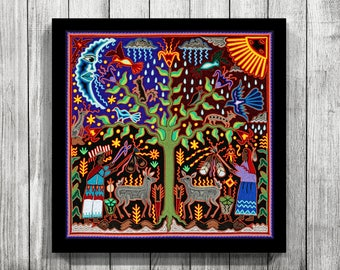 Mexican Painting, Mexican Digital Art, Mexican Art, Huichol Print, Huichol  Art, Mexican Decor, Mexican Wall Art, Digital Print,Mexican Print