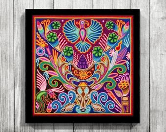 Wonderful Mexican Wall Art, Huichol Print, Mexican Decor, Huichol Art, Digital Print,  Mexican Print, Mexican Painting, Mexican Digital Art,Mexican Art