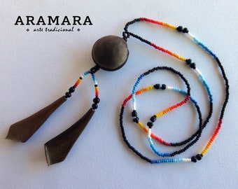 Ojo de Venado, Native American Necklace, Mexican Jewelry, Huichol Necklace, Mexican necklace, Deer's eye, Evil eye Necklace, Sea bean, 0007