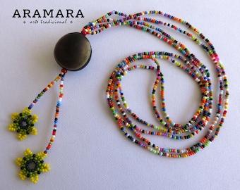 Mexican necklace, Flower Necklace, Mexican Jewelry, Deer's eye, Huichol Necklace, Ojo de Venado, Native American Necklace, Sea bean, 0045