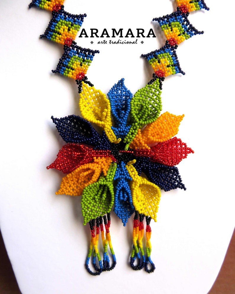 Beaded Flower Huichol jewelry Mexican Necklace Huichol necklace Flower necklace Mexican Jewelry CFG-0194 Native american necklace