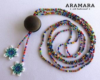 Mexican necklace, Huichol Necklace, Ojo de Venado, Mexican Jewelry, Deer's eye, Native American Necklace, Sea bean, Flower Necklace, 0046