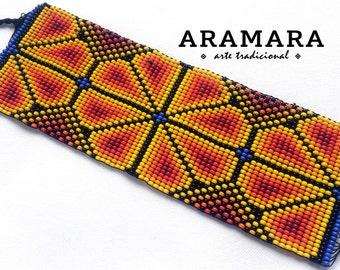 Mexican Huichol Loom Beaded Peyote Bracelet  PT-0022 Huichol art - Mexican bracelet - Mexican Jewelry - Huichol bracelet - Huichol beadwork