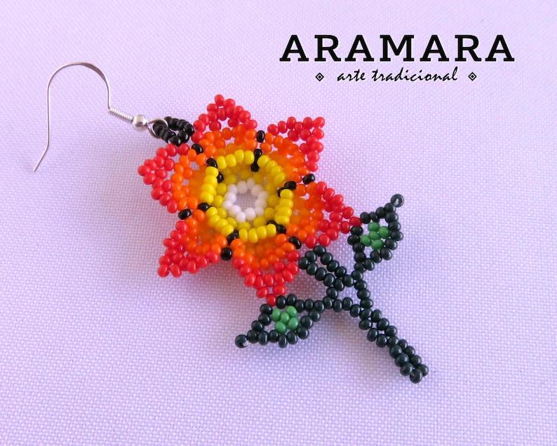 Huichol Earrings Native american earrings Beaded Flower Mexican earrings Mexican Jewelry Flower Earrings Mexican folk art AF-0919