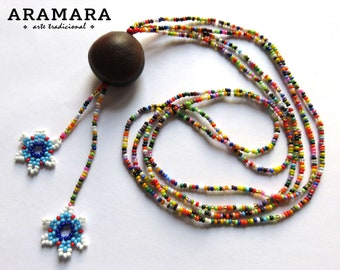 Sea bean, Native American Necklace, Mexican necklace, Flower Necklace, Ojo de Venado, Mexican Jewelry, Deer's eye, Huichol Necklace, 0042