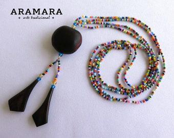 Sea bean, Mexican necklace, Huichol Necklace, Native American Necklace, Mexican Jewelry, Deer's eye, Ojo de Venado, Evil eye Necklace, 0055