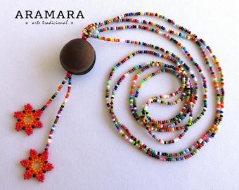 Huichol Necklace, Flower Necklace, Ojo de Venado, Native American Necklace, Mexican Jewelry, Deer's eye, Sea bean, Mexican necklace, 0039