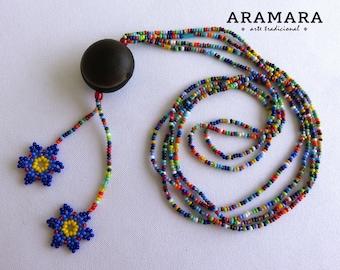 Mexican necklace, Flower Necklace, Mexican Jewelry, Sea bean, Ojo de Venado, Native American Necklace, Deer's eye, Huichol Necklace, 0041