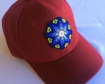 Mexican Huichol Beaded Star Adjustable Velcro Baseball Cap