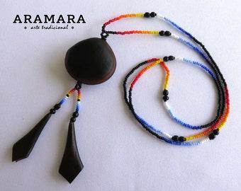 Ojo de Venado, Sea bean, Huichol Necklace, Deer's eye, Mexican necklace, Mexican Jewelry, Native American Necklace, Evil eye Necklace, 0036