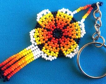 Mexican Huichol Beaded Flower Key chain