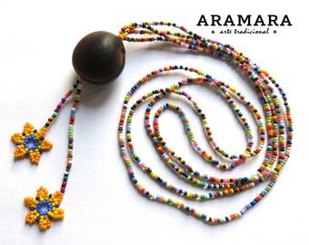 Native American Necklace, Mexican Jewelry, Mexican necklace, Sea bean, Flower Necklace, Deer's eye, Ojo de Venado, Huichol Necklace, 0043