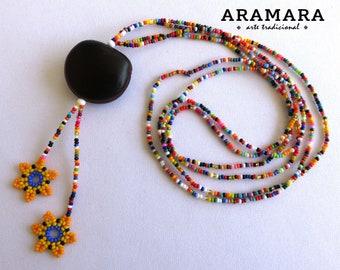 Ojo de Venado, Flower Necklace, Deer's eye, Huichol Necklace, Mexican Jewelry, Native American Necklace, Sea bean, Mexican necklace, 0054