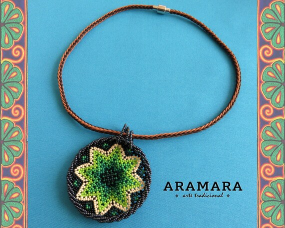 a59a9d7059087 Mexican Necklace, Native American Necklace, Round necklace, Mexican Folk  Art, Star necklace, Mexican Jewelry, Huichol necklace, CRM-0046