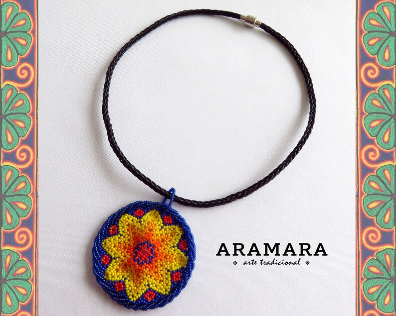 59622d877e708 Star necklace, Mexican Jewelry, Mexican Necklace, Huichol necklace, Mexican  Folk Art, Round necklace, Native American Necklace, CRM-0047