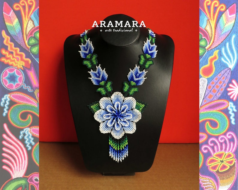 Huichol necklace Native american necklace Mexican Jewelry Mexican Necklace Huichol jewelry CFG-0154 Beaded Flower Flower necklace