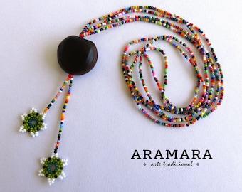 Huichol Necklace, Sea bean, Flower Necklace, Mexican necklace, Ojo de Venado, Deer's eye, Mexican Jewelry, Native American Necklace, 0052