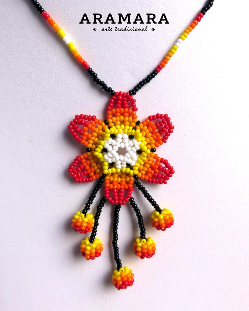 Flower necklace CFM-0108 Huichol necklace Huichol jewelry Native american necklace Mexican Jewelry Beaded Flower Mexican Necklace