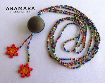 Huichol Necklace, Mexican Jewelry, Mexican necklace, Ojo de Venado, Native American Necklace, Deer's eye, Sea bean, Flower Necklace, 0044