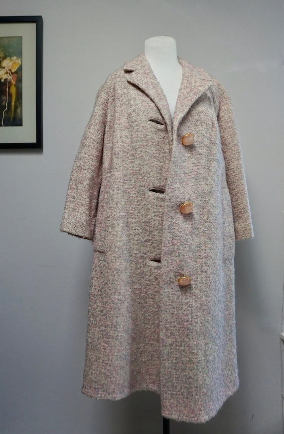 1950s Pierre Crillon Pink Boucle Swing Coat with S