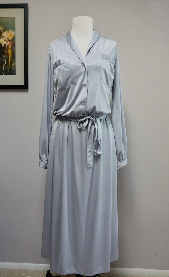 1970s Silky Light Blue Shirt Dress