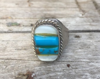 Turquoise, Coral and Silver Men's Ring
